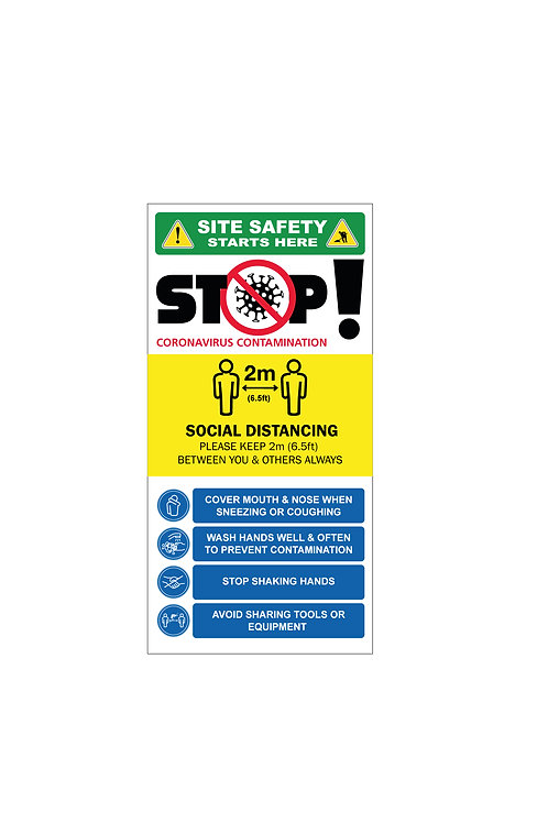 STOP Covid -19 Site Safety Sign, 4ft x 8ft