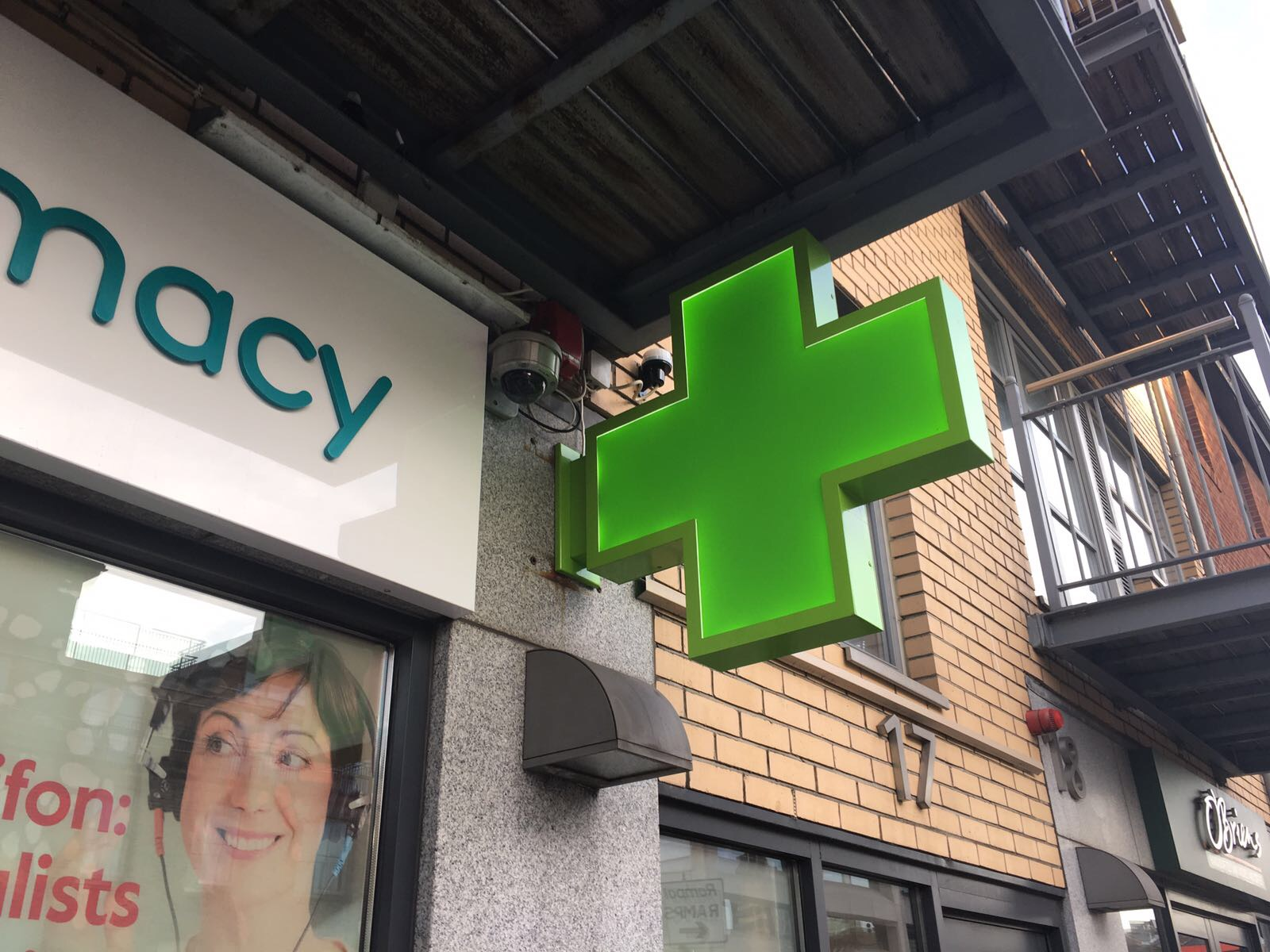 Projecting Pharmacy Cross - Installed at
