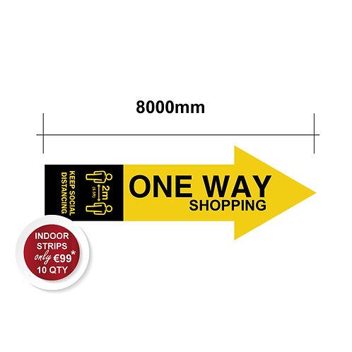 Social Distancing Indoor ONE WAY Floor Stickers, Anti Slip - 800mm