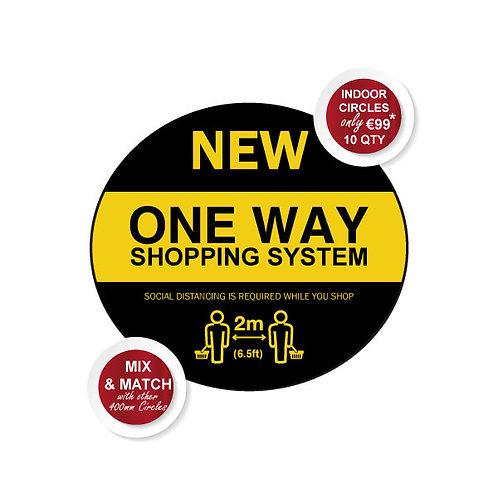 Social Distancing Indoor Floor Stickers, One Way Shopping - 400mm Wi