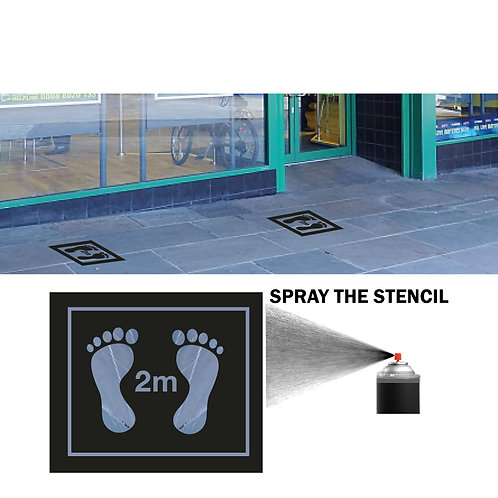 Footprint Stencil for Pavement - PACK 10 + 1 Black Paint Can