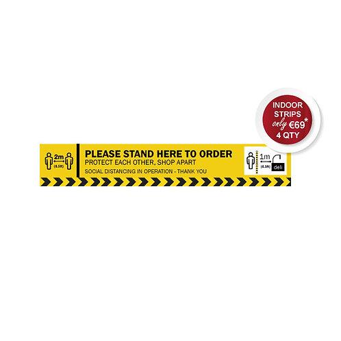 Social Distancing Indoor Floor Stickers, Order Here Strip, Anti Slip