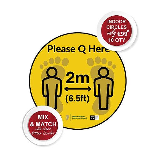 Social Distancing Indoor Floor Stickers, Please Q Here - 400mm Wi