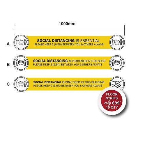 Social Distancing Indoor Floor Stickers, Horizontal, Anti Slip - 1000mm Wide