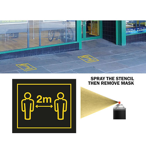 Social DIstancing Rule Stencil for Pavement - PACK 10 + 1 Black Paint Can