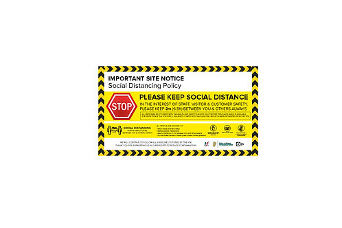 Covid -19 Social Distancing Sign - Warning, 8ft x 4ft