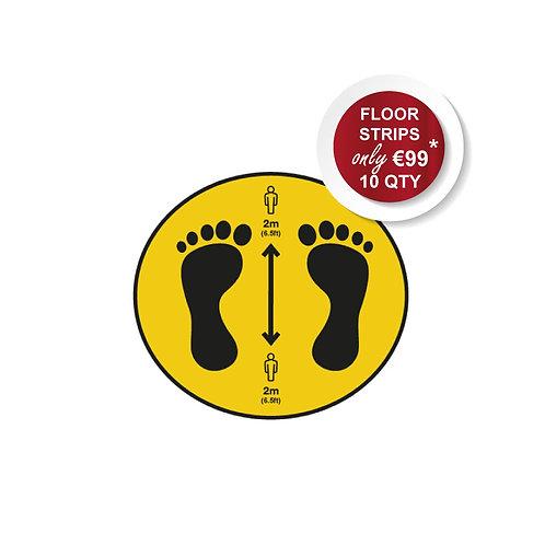 Social Distancing Indoor Floor Stickers, Circle, Anti Slip - 400mm Wide