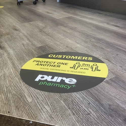 Social Distancing Indoor Floor Stickers, Add Logo Circle, Anti Slip - 500mm Wide