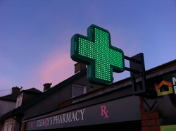 Pharmacy Green Cross- Animated Green LED Cross - Projecting Green Cross