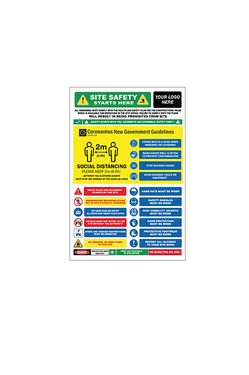Site Safety Sign Incl Covid -19 Ref, 4ft x 8ft