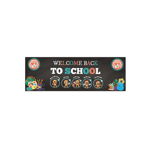Social Distancing School Themed Welcome Back Banner - Variety of Sizes