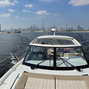 Leader 36 cruising in Dubai Water Canal