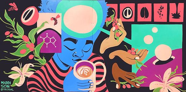 grand rapids mural, michigan mural, sparrows coffee, caffeine, science mural