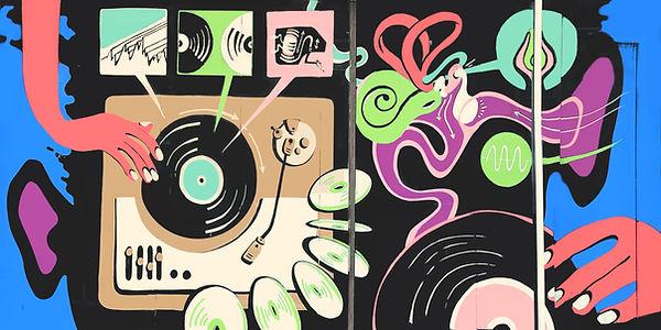 grand rapids mural, michigan mural, sparrows coffee, audio, music, science mural