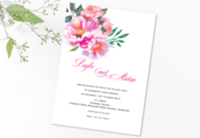 Layla Pink Peonies 5 x 7 invitation with bride and grrom names on the reverse