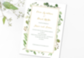 Green Leaves 5 x 7 invitation, bride ad groom names on reverse in toning wreath.