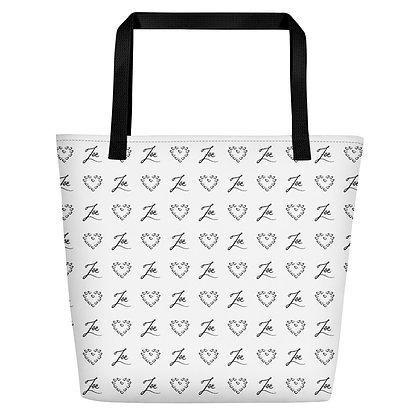 Black Zoe Logo and Hearts Oversized Tote Bag