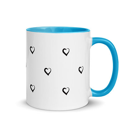 Small Black Hearts Polka Dots with Colored Inside and Handle