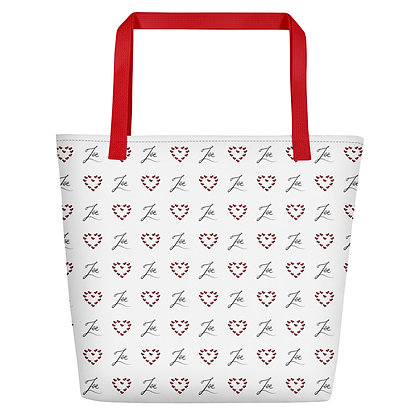 Zoe Logo and Red Hearts in Hearts Polka Dots Oversized Tote Bag