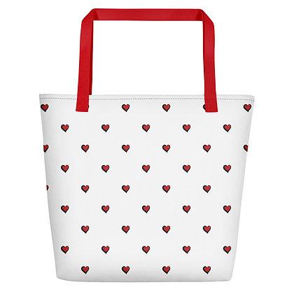 Red Polka Dot Hearts Oversized Tote Bag