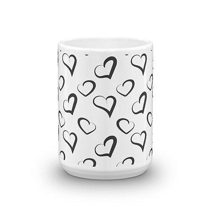 Larger Black Hearts on White Mug, 15 oz