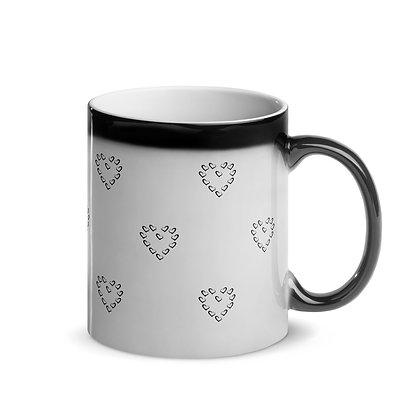 Heart-shaped Polka Dot Glossy Black Magic Mug