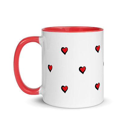 Red and Black Hearts on White Mug with Red Handle and Inside