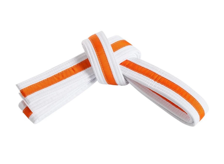 1st Preschool Grading White Belt Orange Tag