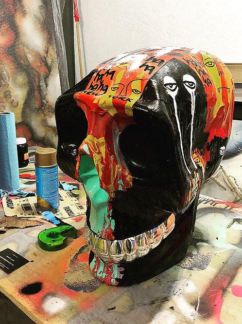 Haculla Skull Hand Painted + Silver Teeth + Swarovski Tooth - SOLD -
