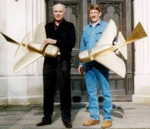 Peter Belting and Conrad Lubbers with their radio-controlled replica models of the Quimbaya aeroplanes.