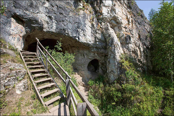 Denisova Cave in the Altai Mountains of Siberia
