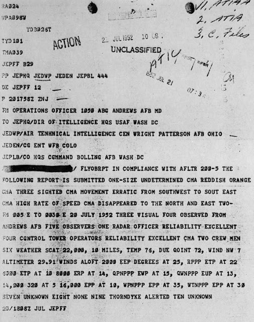 Telex from Andrews AFB dated 21 July 1952