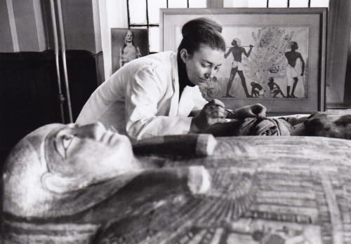 Dr. Svelta Balabanova studying a mummy