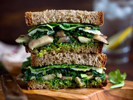 Mushroom Melt Sandwich With Parsley Pesto, Kale and Arugula
