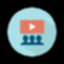 Un cercle bleu à l'intérieur duquel 3 silhouettes regardent un écran avec le logo Youtube