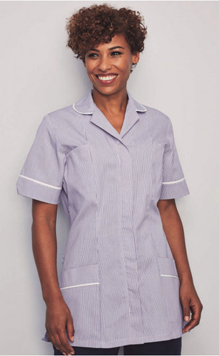 007b811033909 Ladies Lilac Stripe Healthcare Tunic - with white trim