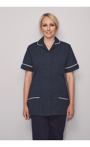 ce2021a3c3377 Ladies Navy/White Spot Healthcare Tunic - with white trim
