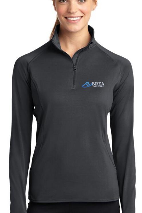 Sport-Tek Ladies Sport-Wick Stretch 1/2-Zip Pullover - CHARCOAL GREY
