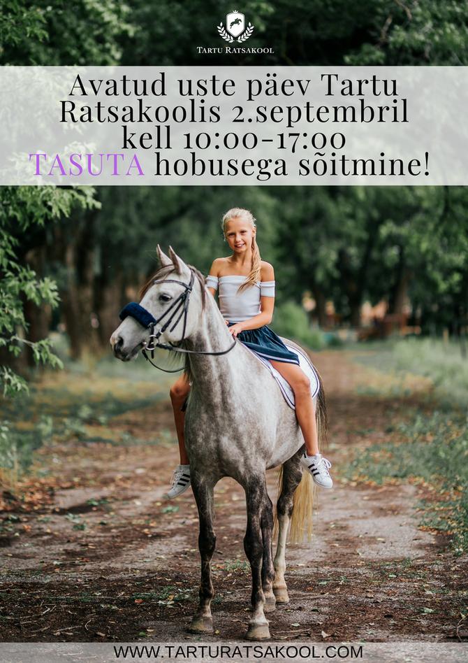 Avatud uste päev Tartu Ratsakoolis 2.septembril kell 10:00
