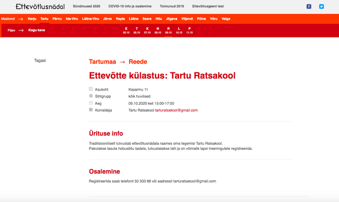 Ettevõtlusnädal 2020, ettevõtte külastus: Tartu Ratsakool