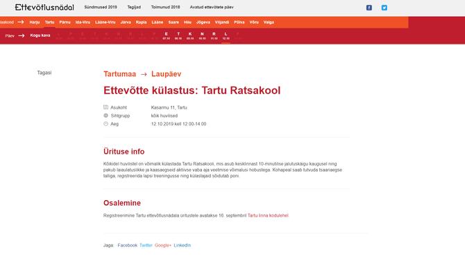 Ettevõtte külastus: Tartu Ratsakool, Ettevõtlusnädal