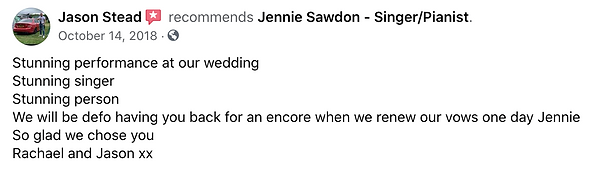 Jennie Sawdon - Jason Stead Wedding Reco