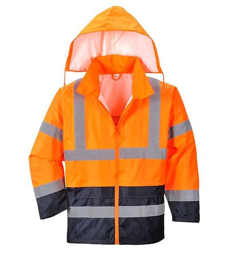 Warnschutz-Regenjacke mit Kontrastfarbe
