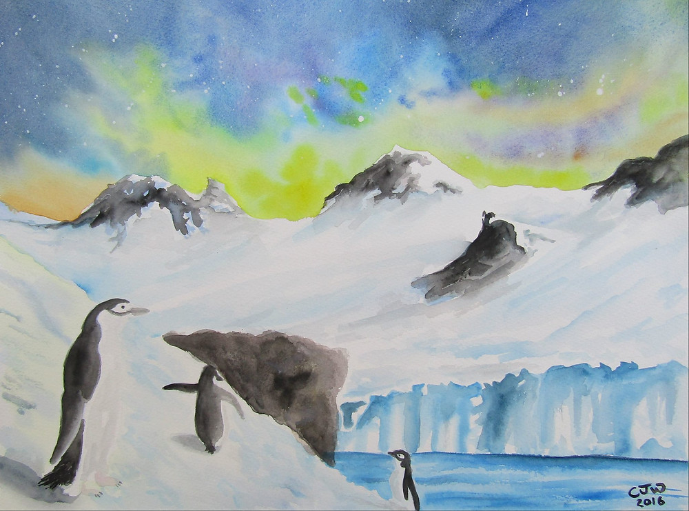 Penguin Watercolour Painting