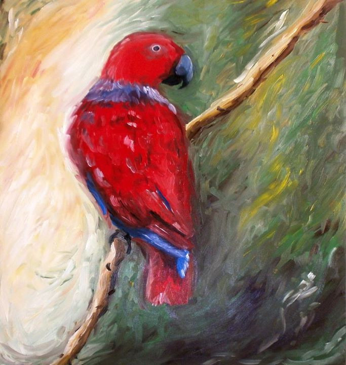 Eclectus Parrot Oil Painting on Canvas
