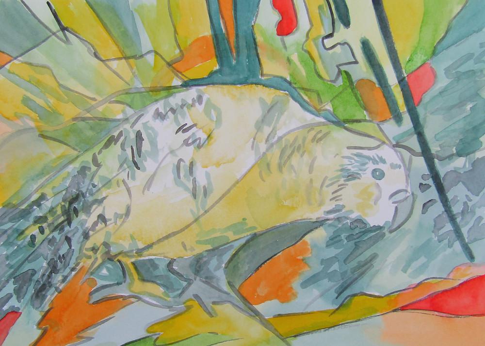Kakapo Watercolour Painting