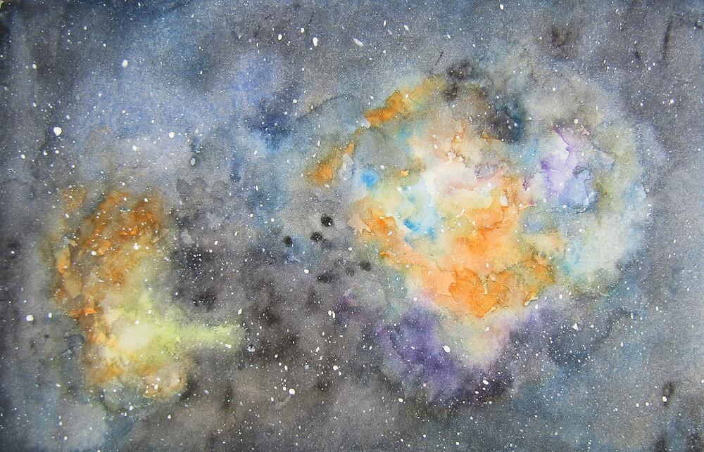 Swan Nebula Galaxy Watercolour Painting