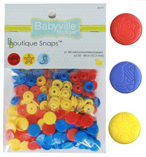 Boutons pression Babyville - 5 couleurs d'assortiments disponibles