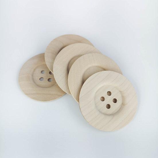 "Extra gros boutons en bois clair, non vernis - 2 1/4"""