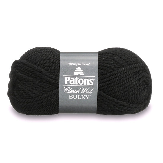 PATONS Classic Wool Bulky - Noir - 100% Laine vierge - 8 mm